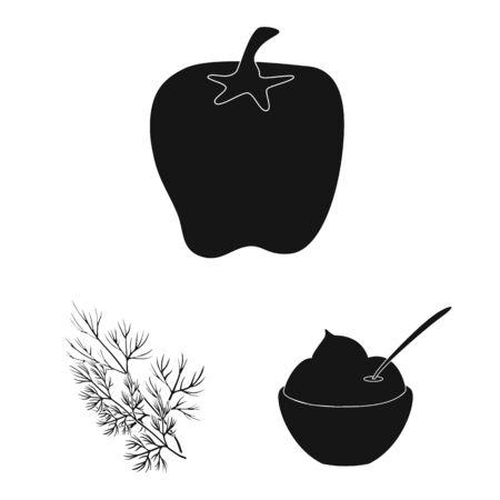Vector illustration of organic and cooking icon. Collection of organic and flavors vector icon for stock. Ilustração