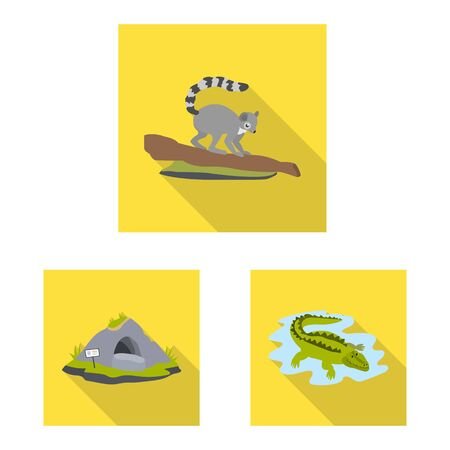 Vector illustration of safari and animal icon. Set of safari and fun stock vector illustration.