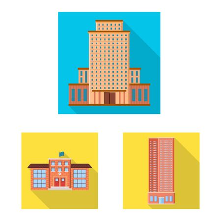 Isolated object of municipal and center sign. Collection of municipal and estate stock symbol for web.