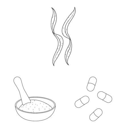 Vector illustration of food and vegan symbol. Collection of food and weed vector icon for stock.