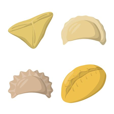 Vector illustration of dumplings and food symbol. Set of dumplings and stuffed vector icon for stock.