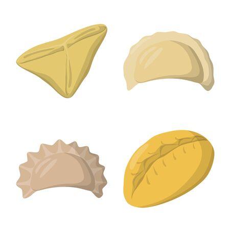 Vector illustration of dumplings and food symbol. Set of dumplings and stuffed vector icon for stock.