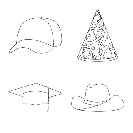 Isolated object of headgear and napper symbol. Collection of headgear and helmet vector icon for stock.
