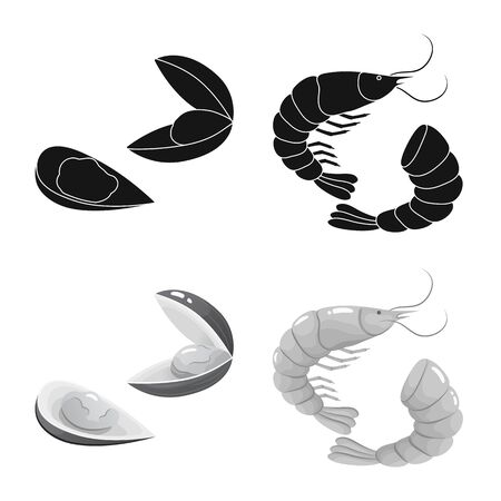 Isolated object of fresh and restaurant icon. Collection of fresh and marine vector icon for stock.  イラスト・ベクター素材