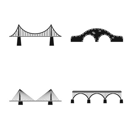 Isolated object of construct and side. Set of construct and bridge stock vector illustration. 일러스트