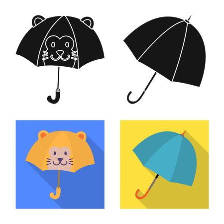 Vector design of protection and closed. Set of protection and rainy stock symbol for web.