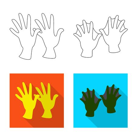 Vector design of silhouette and safety. Set of silhouette and comfort vector icon for stock. Vettoriali