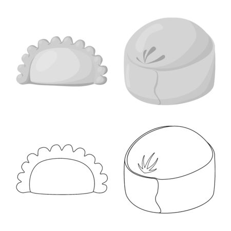 Vector illustration of products and cooking. Set of products and appetizer stock symbol for web.