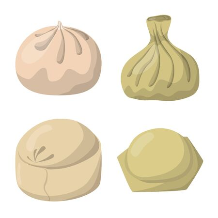 Vector illustration of dumplings and food icon. Collection of dumplings and stuffed stock vector illustration. Illustration