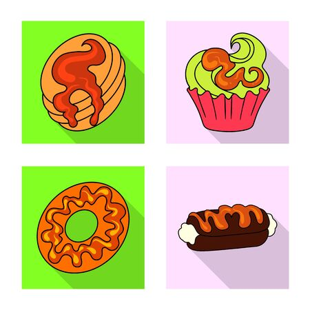 Vector illustration of confectionery and culinary symbol. Set of confectionery and colorful stock vector illustration.