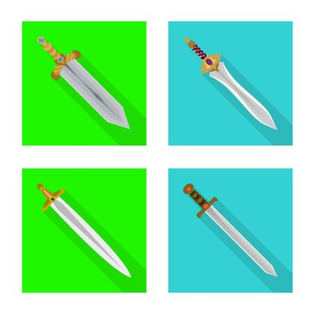 Vector illustration of and sword symbol. Collection of and knife vector icon for stock. Stok Fotoğraf - 130071868