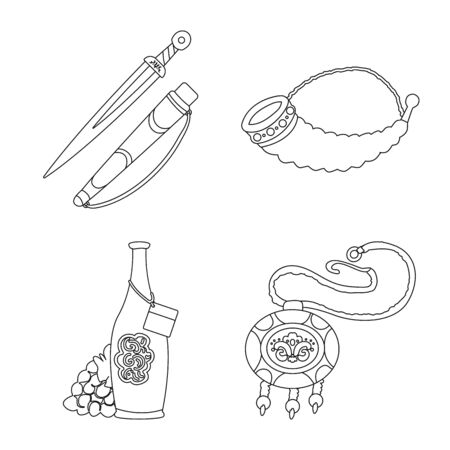 Vector illustration of traditions and national. Collection of traditions and sightseeing stock symbol for web. Illustration