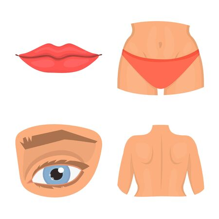 Isolated object of body and part sign. Collection of body and anatomy stock vector illustration. 写真素材 - 129974996