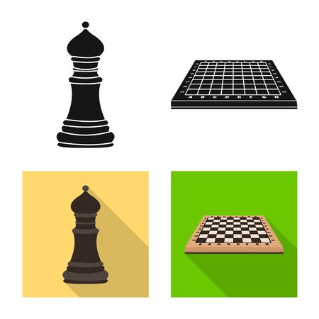 Isolated object of checkmate and thin sign. Collection of checkmate and target stock vector illustration. Çizim