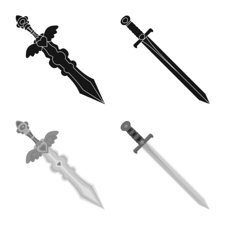 Vector illustration of game and armor icon. Collection of game and blade stock symbol for web. Stok Fotoğraf - 130071932