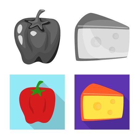 Vector illustration of taste and product icon. Set of taste and cooking vector icon for stock. Ilustração