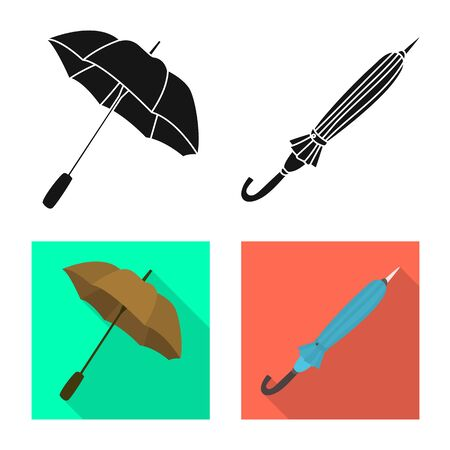 Vector design of protection and closed icon. Set of protection and rainy stock symbol for web.