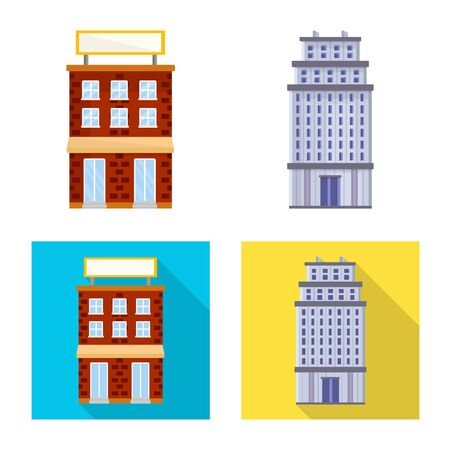 Vector illustration of municipal and center logo. Collection of municipal and estate vector icon for stock.
