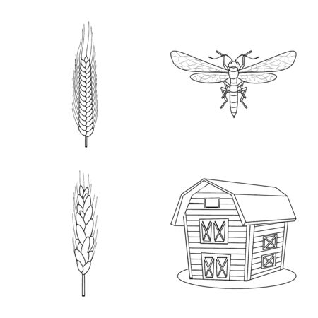 Isolated object of agriculture and farming icon. Collection of agriculture and plant vector icon for stock.  イラスト・ベクター素材