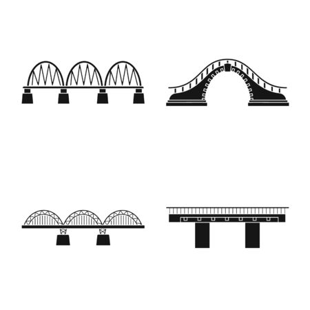Vector illustration of construct and side logo. Collection of construct and bridge stock symbol for web.