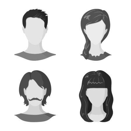 Vector illustration of character and profile symbol. Set of character and dummy vector icon for stock.