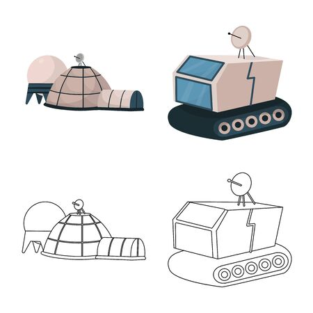 Vector illustration of astronomy and technology. Collection of astronomy and sky stock vector illustration.