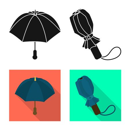 Vector design of protection and closed symbol. Set of protection and rainy stock vector illustration.