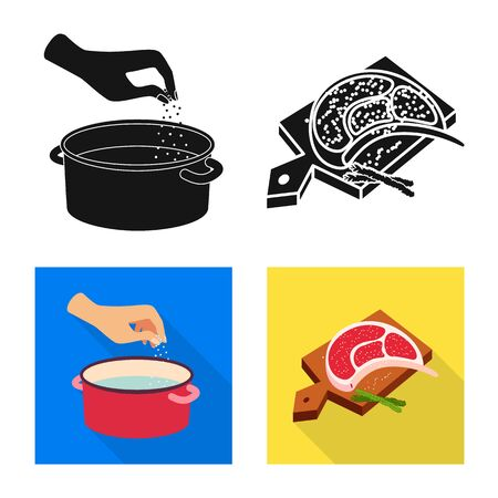 Vector illustration of cooking and sea. Collection of cooking and baking stock symbol for web.