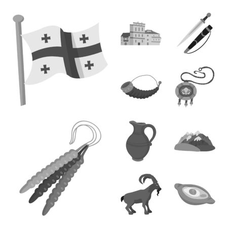 Vector illustration of attributes and tourism logo. Collection of attributes and national vector icon for stock.