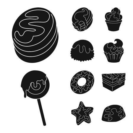 Vector illustration of sweetness and product. Set of sweetness and sweet vector icon for stock. Çizim