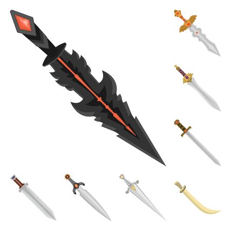 Vector design of sword and dagger symbol. Set of sword and weapon vector icon for stock.