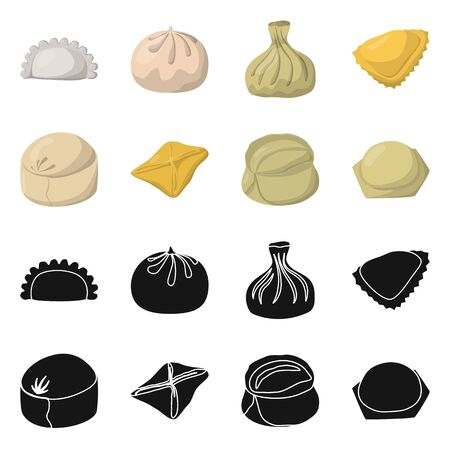Vector illustration of products and cooking sign. Collection of products and appetizer stock symbol for web. Ilustrace