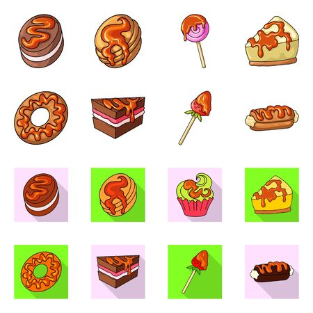 Vector illustration of confectionery and culinary sign. Collection of confectionery and product vector icon for stock. Ilustração