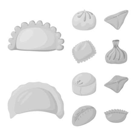 Vector design of dumplings and stuffed icon. Set of dumplings and dish vector icon for stock.