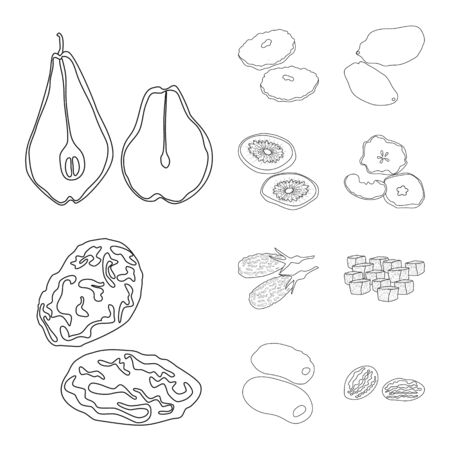 Vector illustration of food and raw symbol. Set of food and nature stock symbol for web. Illustration