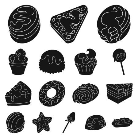 Vector design of sweetness and product logo. Set of sweetness and sweet stock vector illustration.