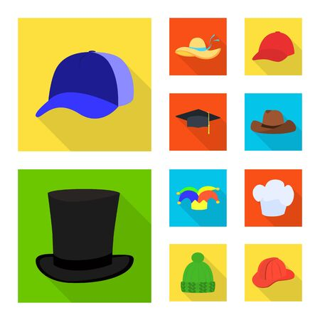 Vector illustration of fashion and profession icon. Set of fashion and cap stock symbol for web. Ilustração