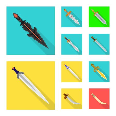 Isolated object of and sword icon. Collection of and knife stock symbol for web.