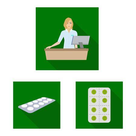 Vector illustration of hospital and help logo. Collection of hospital and healthcare stock symbol for web. Ilustração