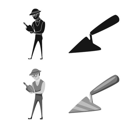 Vector illustration of story and items sign. Collection of story and attributes stock vector illustration. Иллюстрация