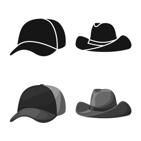 Vector design of clothing and cap icon. Collection of clothing and beret vector icon for stock.