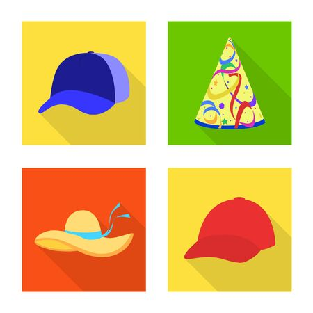 Isolated object of fashion and profession symbol. Set of fashion and cap stock symbol for web.