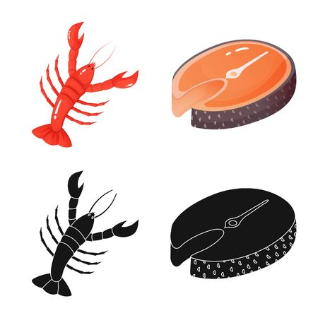 Isolated object of fresh and restaurant icon. Collection of fresh and marine vector icon for stock. Illustration