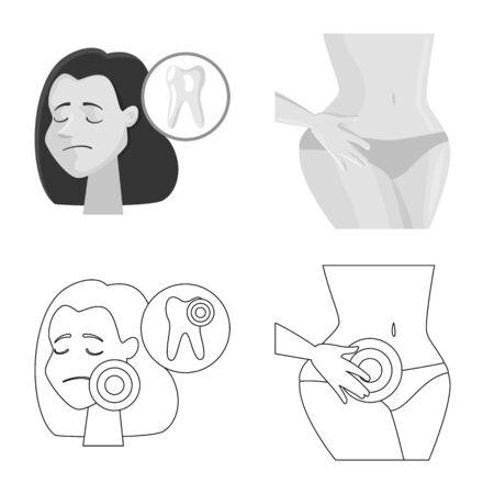 Vector illustration of hospital and rendering icon. Collection of hospital and help stock vector illustration. Ilustração