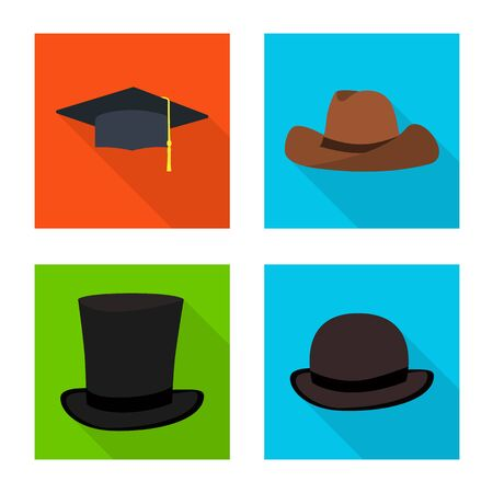 Isolated object of fashion and profession symbol. Collection of fashion and cap vector icon for stock.