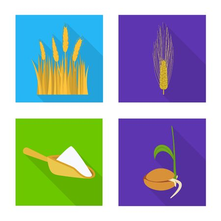 Vector design of wheat and corn sign. Set of wheat and harvest stock symbol for web.