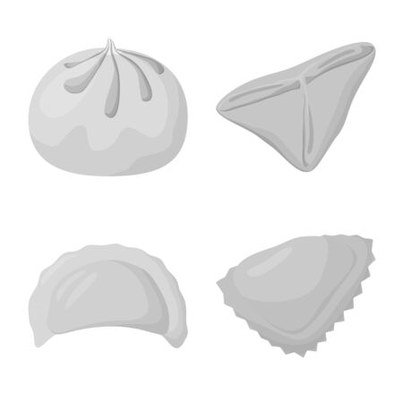 Vector design of dumplings and stuffed symbol. Collection of dumplings and dish stock vector illustration.