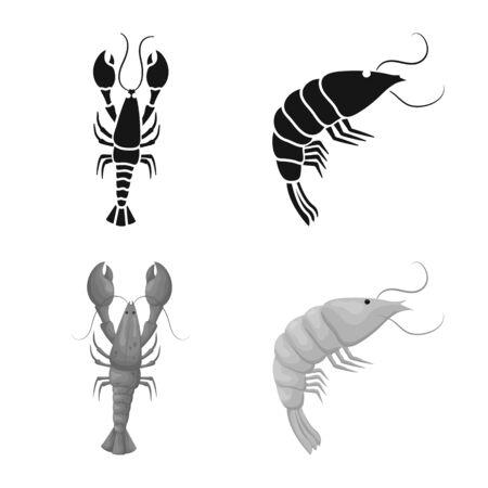 Vector design of appetizer and ocean logo. Collection of appetizer and delicacy stock vector illustration.
