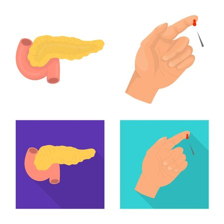 Vector illustration of diet and treatment icon. Set of diet and medicine stock symbol for web.