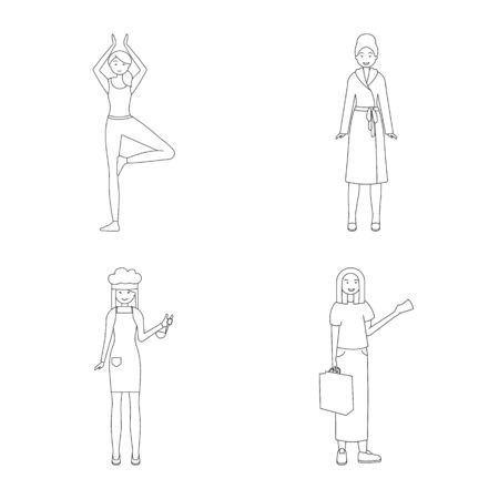 Isolated object of posture and mood sign. Collection of posture and female stock symbol for web.